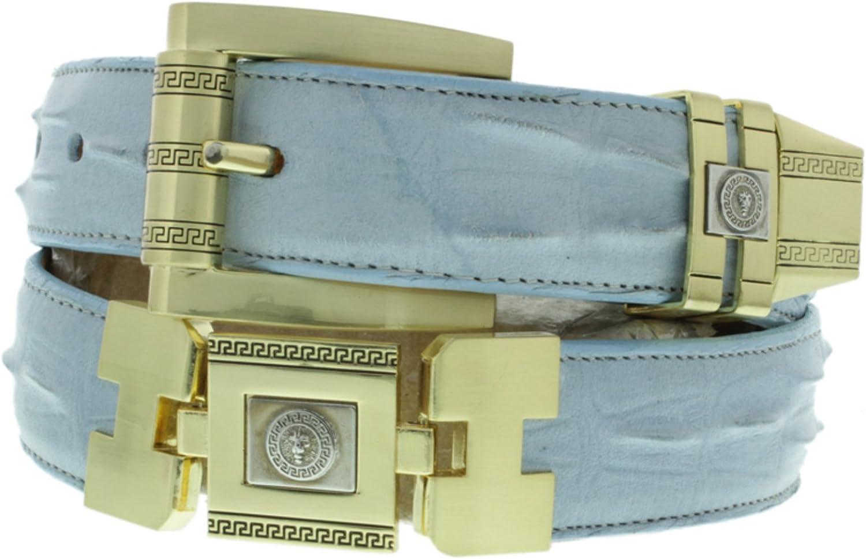 Mens Western Belt Blue Alligator Tail Print Leather Gold Links Fashion Buckle