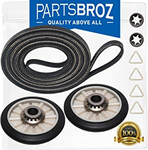 341241 Dryer Belt & 349241T Rear Drum Support Roller Kit for Whirlpool & Kenmore by PartsBroz - Replaces Part Numbers PS347627, LB276, FSP341241 & 661562