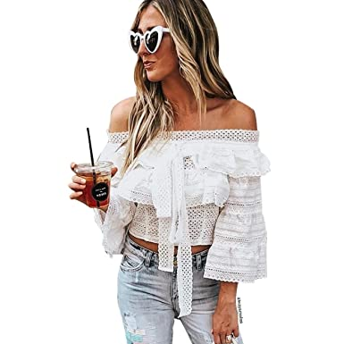 4ae28a9828c60e Chicwish Women's Retro White Crochet Eyelet Off-Shoulder Tiered Ruffle Crop  Top