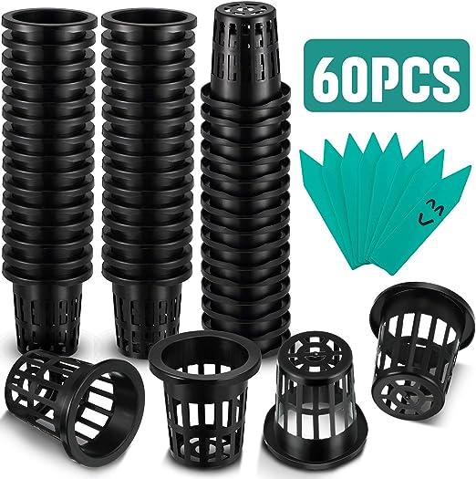 12-Pack 3 Inch Garden Slotted Mesh Net Cups Wide Lip Bucket Basket for Hydroponics Heavy Duty Net Pots w// 5Pcs Plant Labels