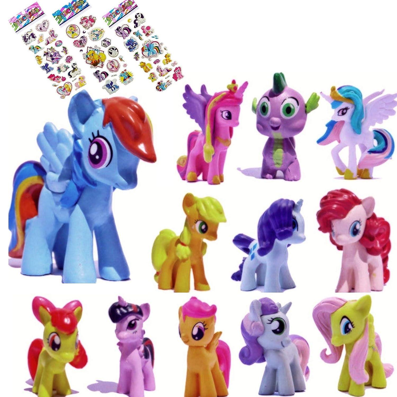 My Little Pony Set 12 pcs Toys | PVC Mini Figure Collection Playset | Kids Decor Cupcake Topper Pony Stickers | By ToysOuletUSA