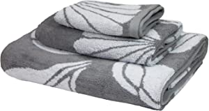 Arkwright LLC Oceanic Bath Towel Set, Nautical Themed Highly Absorbent Bathroom Towels for Coastal Decor, 3-Piece Includes 1 Bath Towels, 1 Hand Towels and 1 Washcloth (Grey)