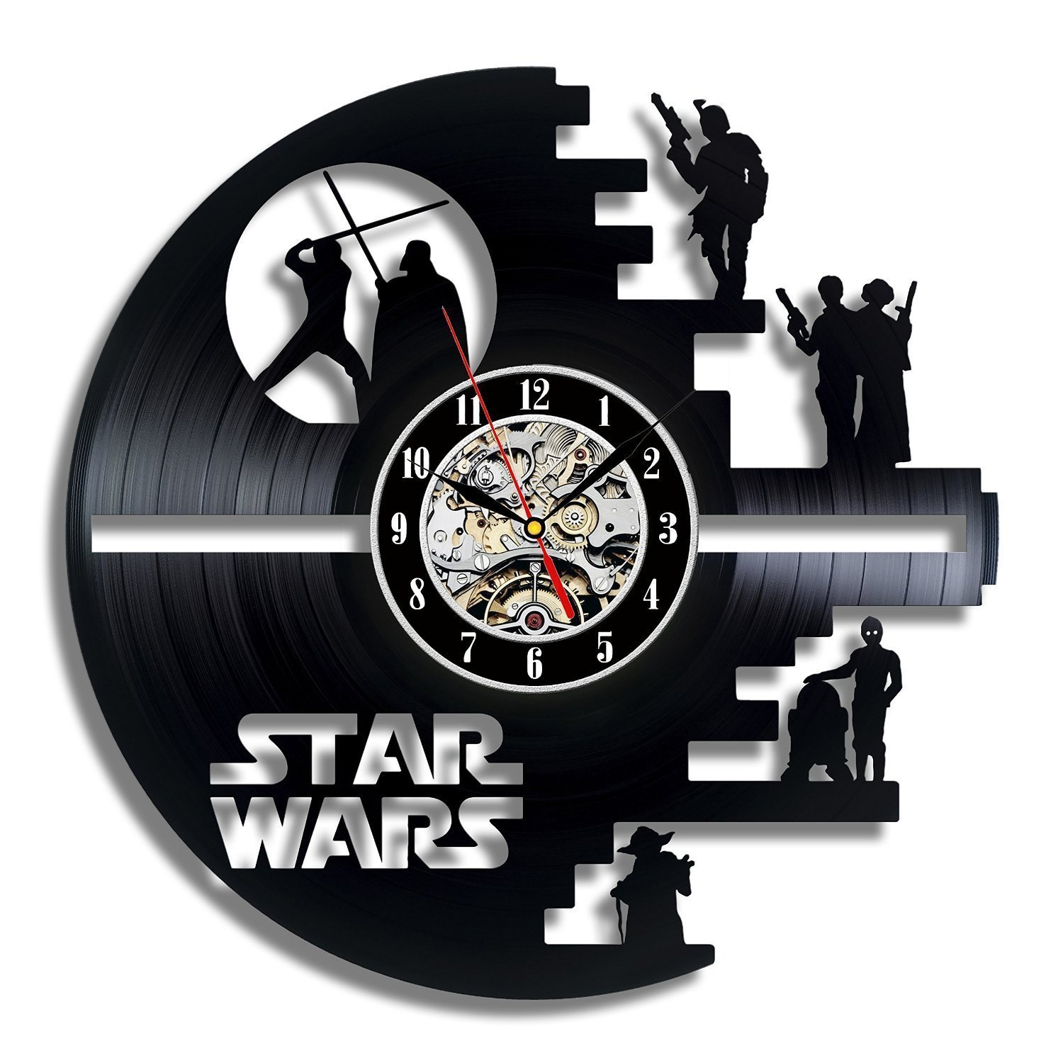 Amazon star wars death star designed wall clock decorate amazon star wars death star designed wall clock decorate your home with modern large darth vader and luke skywalker art best gift for friend amipublicfo Gallery