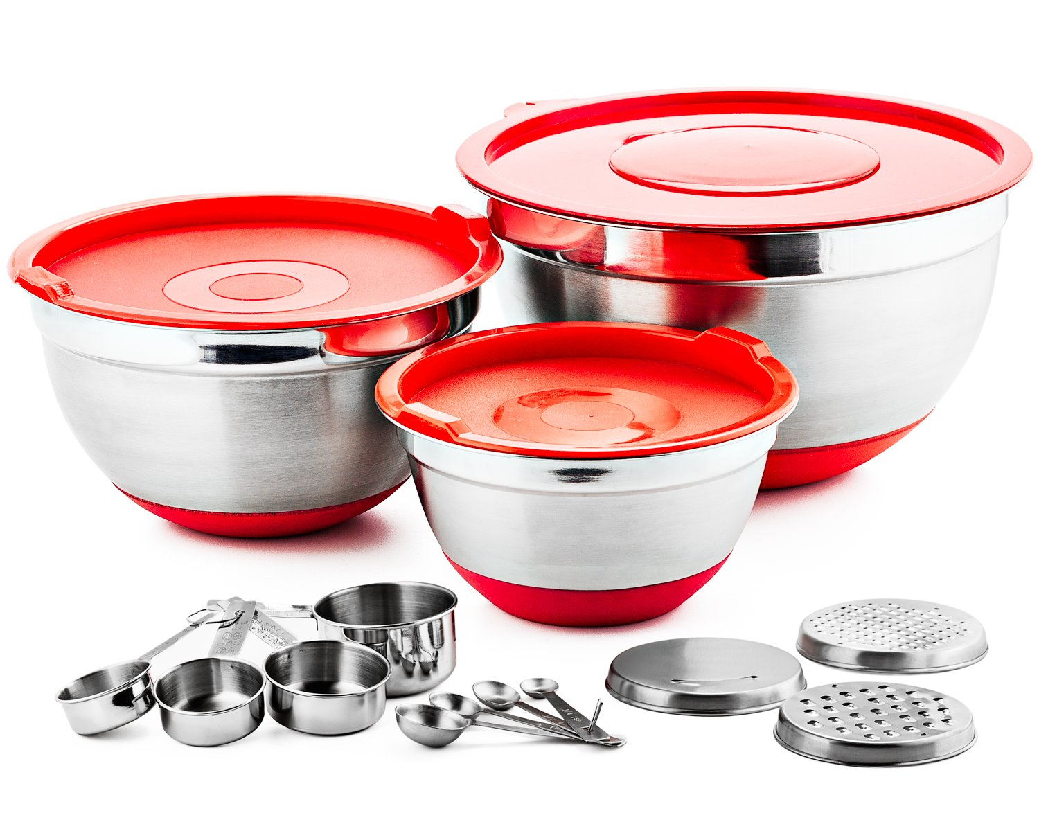 Chefs Star 17 Piece Stainless Steel Mixing Bowl Set with Anti-Slip Silicone Base - Includes 3 Stainless Steel Bowls with Lids, 3 Interchangeable Graters, 4 Measuring Cups, 4 Measuring Spoons Chef's Star CSMBS17