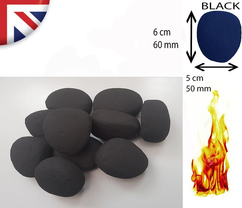 Piedras de cer/ámica de repuesto para chimenea//biocombustible color negro 10//20//30