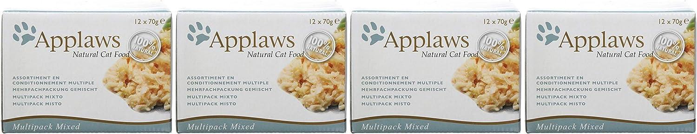 Applaws 100% Natural Wet Cat Food, Multipack Pescado y Pollo Selección en latas de 70 g (Paquete de 4, 48 latas en Total)