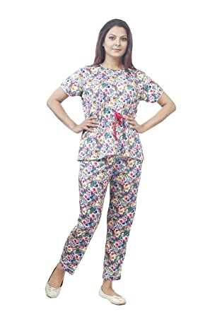 017e55bf9be IMJI Nightwear Multicoloured Floral Printed Pajama Set with Short for Women  (Small)