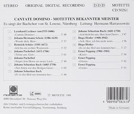 Cantate Domino Motetten Bekannter Meister Bachchor St Lorenz