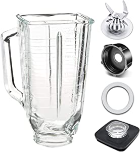 Replacement 5 Cup Glass Square Top Blender Jar, 4903 Black Square Jar Lid and Center Cap, 4980 Ice Crushing Blade, 4902 Jar Base Cap, Rubber Gasket, Compatible with Oster and Osterizer Blenders