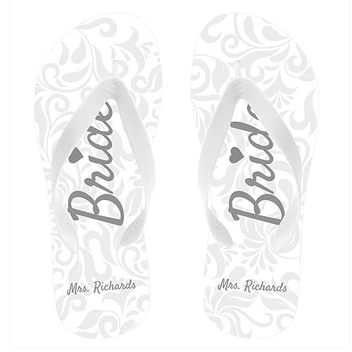 51cbe7489484 Personalized Bride Flip Flops White