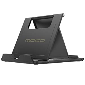 "MoKo Phone/Tablet Stand, Foldable Desktop Holder for Devices(6-11"") Fit iPhone 11 Pro Max/11 Pro/11, iPad 10.2"" 2019, iPhone Xs/Xs Max/Xr/X, iPad Air 3, Mini 5, Galaxy Note 10 Plus, Black(Large Size)"
