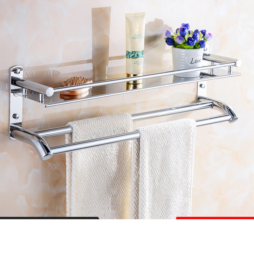 50%OFF Multifunctional bathroom shelf/Stainless steel Towel rack/shelf /the shelf in the bathroom/ Double glass wall-D