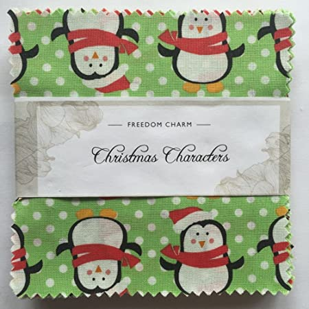 Fabric Freedom Xmas Characters 100/% Cotton Fabric FQ Craft Quilt Patchwork Green