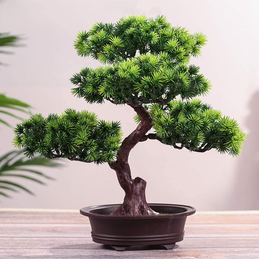 Amazon Com Mayit Artificial Bonsai Welcoming Pine Tree Simulation Potted Plant Diy Decorative Bonsai Desk Display Fake Tree Pot Ornaments For Home Office Shop Home Kitchen