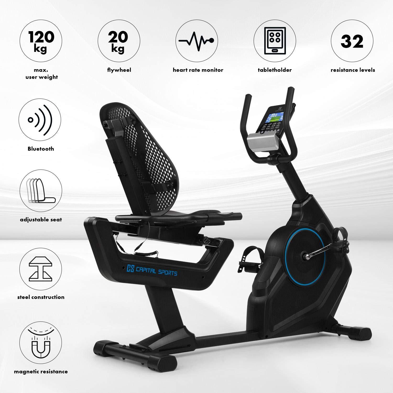 Capital Sports Evo /• Ergometer /• Heimtrainer /• Bluetooth /• magnetisches Bremssystem mit 32 Leveln /• App-Integration /• Option bis 21 kg Schwungmasse /• Tablet-Halterung /• Pulssensor