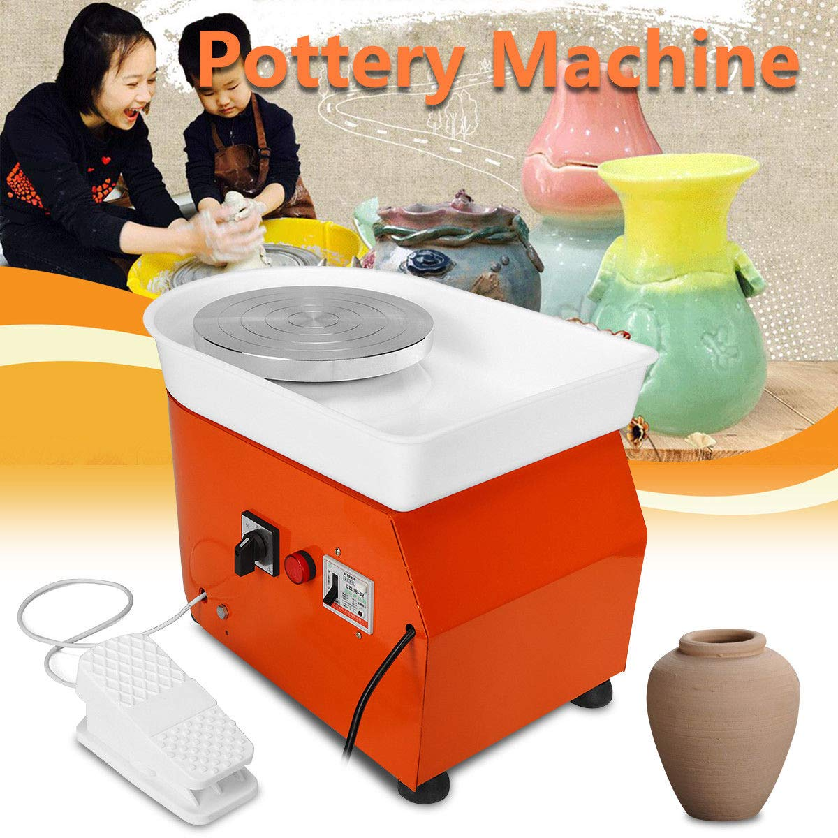 Barbella Pottery Wheel Pottery Forming Machine 250W Electric Pottery Wheel DIY Clay Tool with Tray for Ceramic Work Ceramics Clay (Orange) by Barbella (Image #1)
