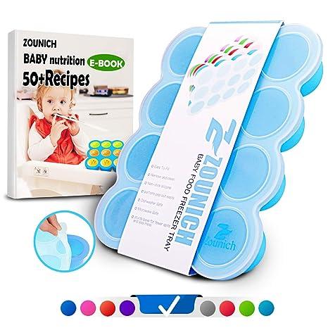 ZOUNICH Cubiertos De Silicona Para Bebés - Molde De Helado Para Bebés - Aprobado Por BPA y FDA - Almacenamiento De Alimentos Para Bebés
