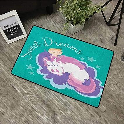 DEL Licorne Design avec étoiles Coussin-Sweet Dreams 37X37cm avec piles