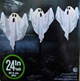 3 Cloth Ghost Lawn Stake Path Lights Halloween Yard Decoration 24 Inches Tall