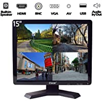 "15"" Professional CCTV Monitor VGA HDMI AV BNC, 4:3 HD Display (LED Backlight) LCD Security Screen with USB Drive Player…"