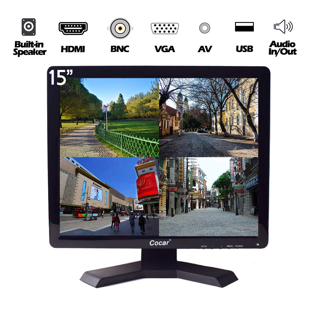15'' Professional CCTV Monitor VGA HDMI AV BNC, 4:3 HD Display (LED Backlight) LCD Security Screen with USB Drive Player for Surveillance Camera STB PC 1024x768 Resolution Built-in Speaker Audio In/Out