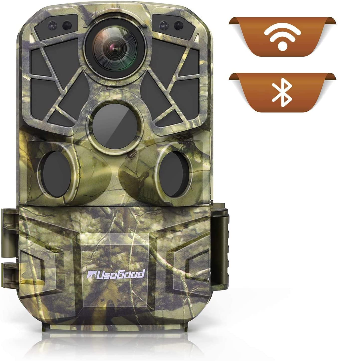 WiFi Trail Camera 4K, Usogood 24MP Bluetooth Game Cameras with Night Vision Motion Activated Waterproof Wireless Hunting Cam for Home Security, Outdoor Wildlife Monitoring, Sends Picture to Cell Phone