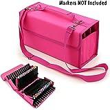 BTSKY Handy 80 Slot Carrying Lipstick Organizer Marker Case Holder for Primascolor Marker and Copic Marker (Pink)