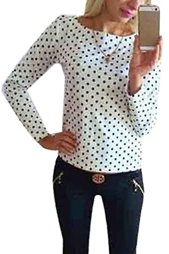 Las Mujeres Elegantes Plain Polka Dot Long Sleeve Top Camiseta Blusa