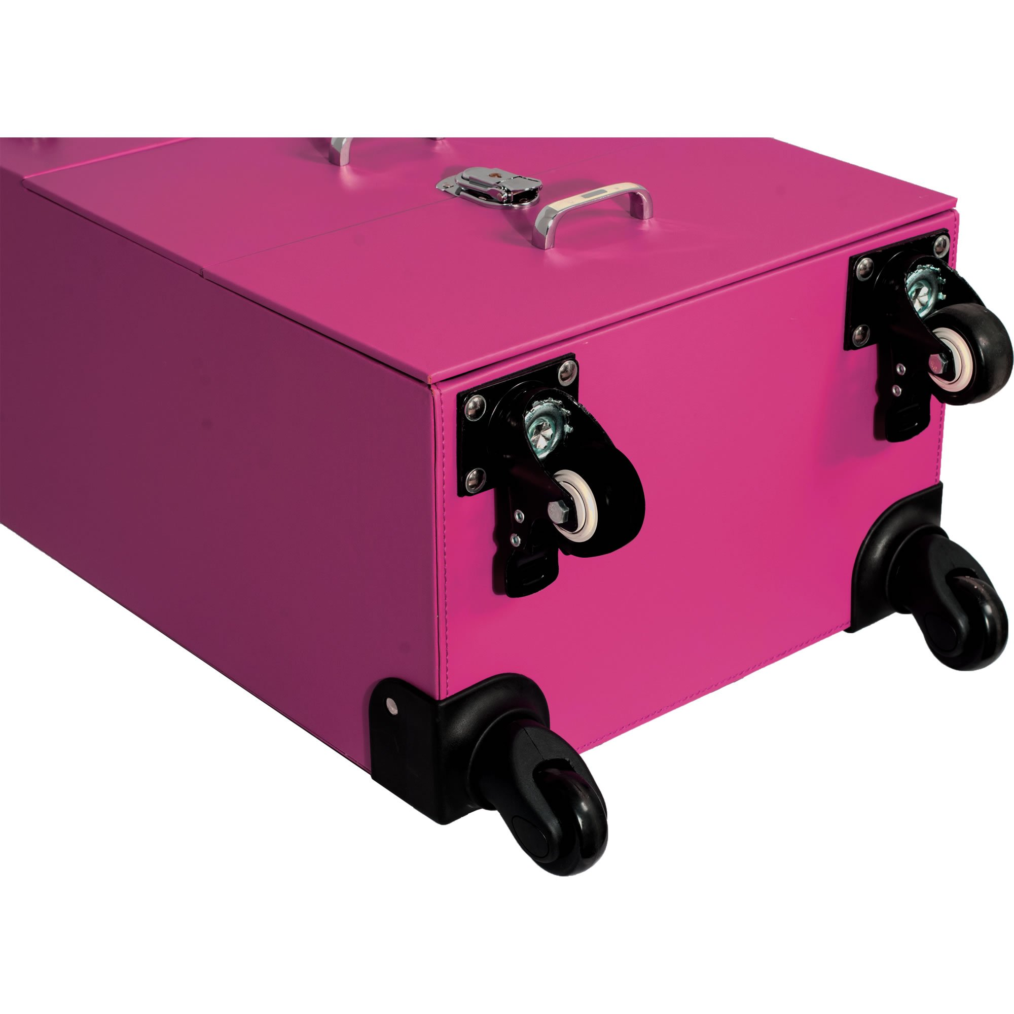 Sunrise Faux Leather Professional Nail Artistry 4 Wheel Rolling Makeup Case, Pink by SunRise (Image #5)