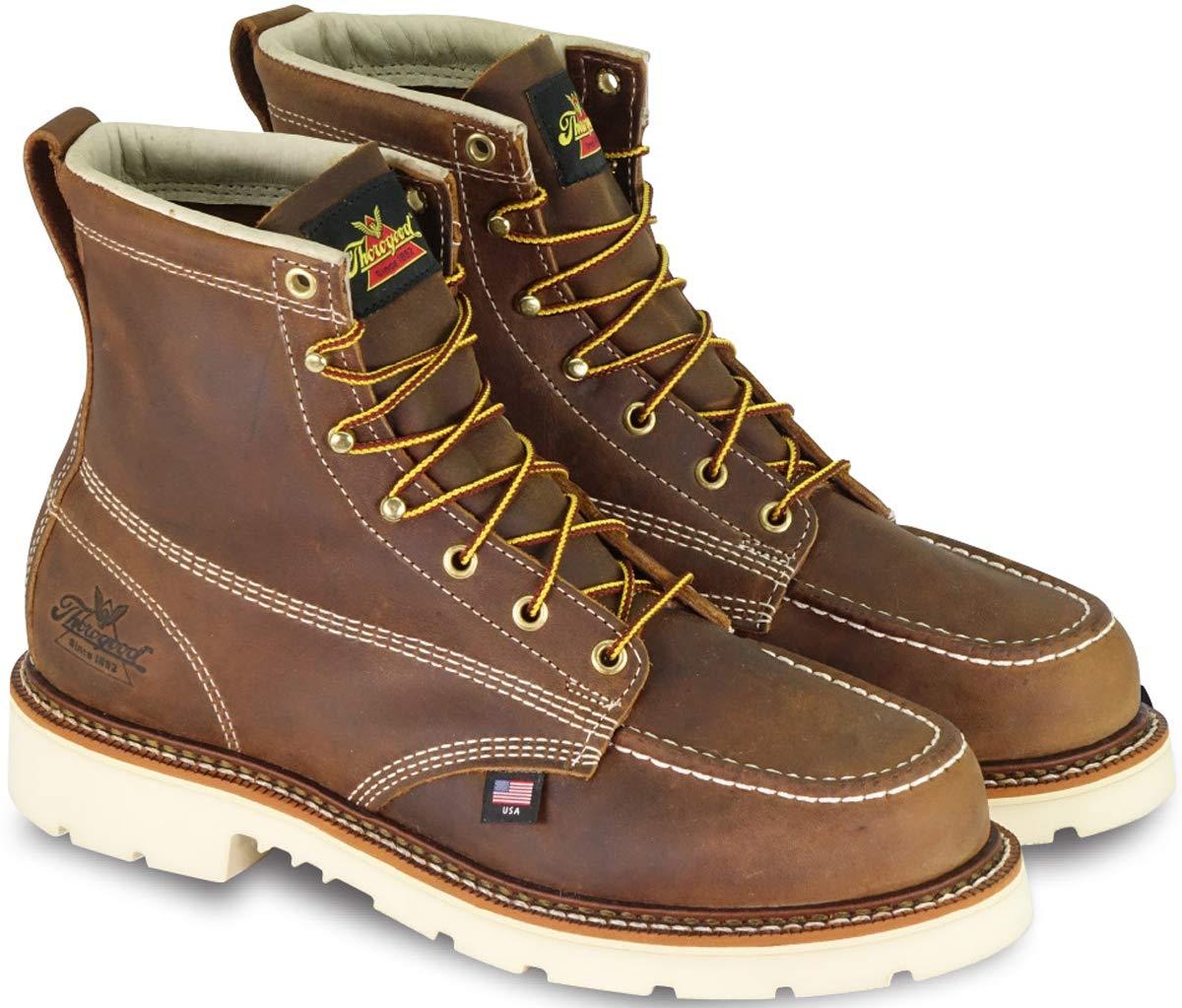 Thorogood 804-4375 Men's American Heritage 6'' Moc Toe, MAXWear 90 Safety Toe Boot, Trail Crazyhorse - 11.5 D(M) US