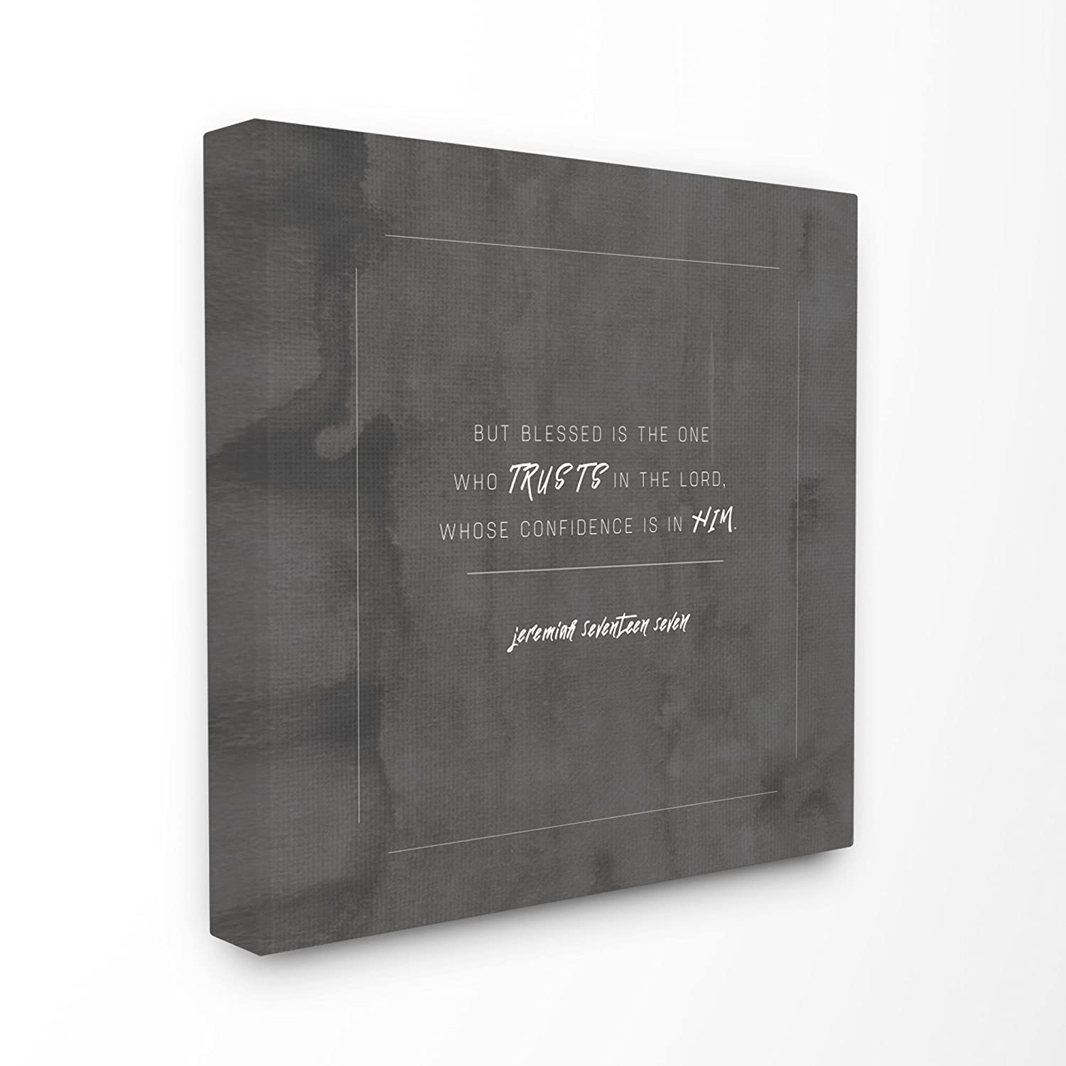 17 x 1.5 x 17 Stupell Home D/écor Blessed Is The One Who Trusts Stretched Canvas Wall Art by EtchLife Proudly Made in USA