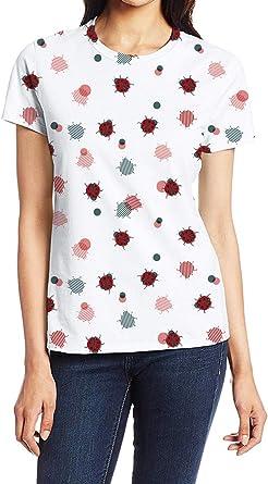 Ladybugs Lovely Printed T-Shirts,Crew Neck T-Shirt of Girls,Polyester,Ladybugs o