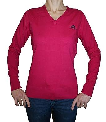 54d77e559c2eda Adidas V-Neck Pullover Frauen Bio-Baumwoll-Pullover Rosa: Amazon.de ...