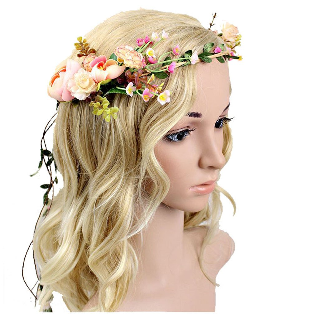 Amazon.com   Meiliy Bridal Flower Garland Headband Flower Crown Hair ... d0772177b37