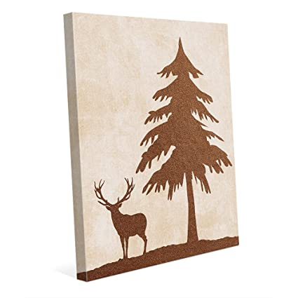 Brown Silhouette Deer: Sihlouette of Buck & Tree on Tan Parchment-pattern for Hunting