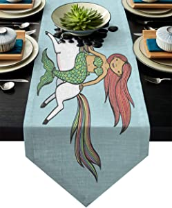 Fandim Fly Table Runner Mermaid Unicorn White Horse Run Funny Cartoon Table Runners for Catering Events, Dinner Parties, Wedding, Indoor and Outdoor Parties, 14 x 72 Inch