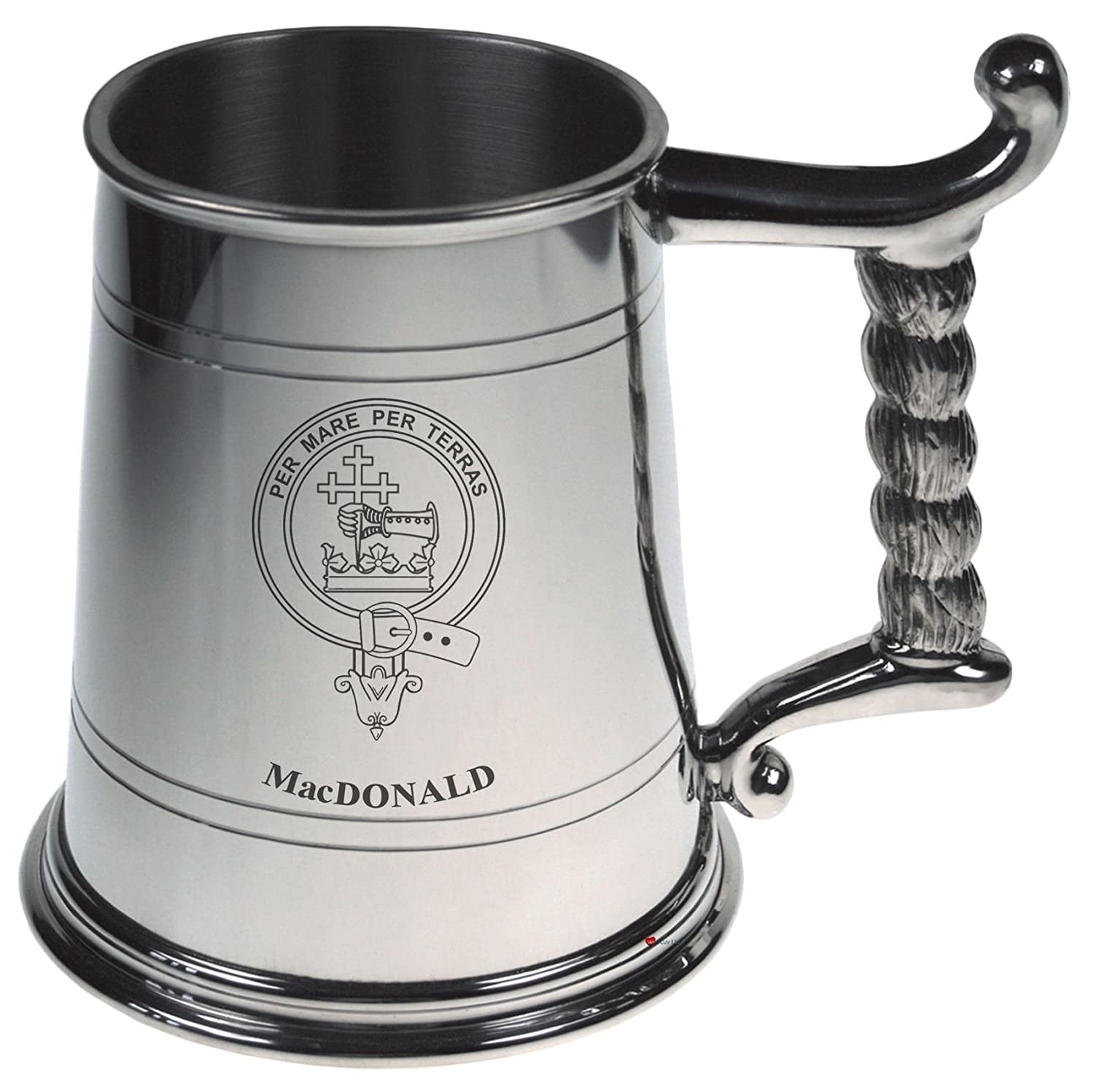 MacDonald Crest Tankard with Rope Handle in Polished Pewter 1 Pint Capacity I Luv Ltd