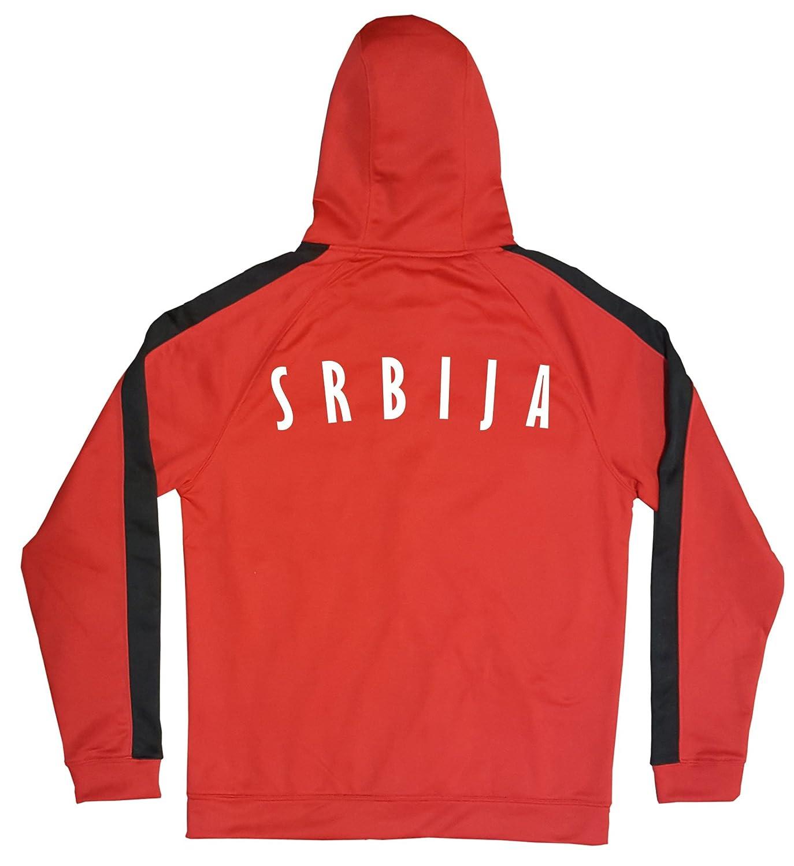 Serbien Jacke Sweater Rot JA GO Srbija Trikot Look Zip