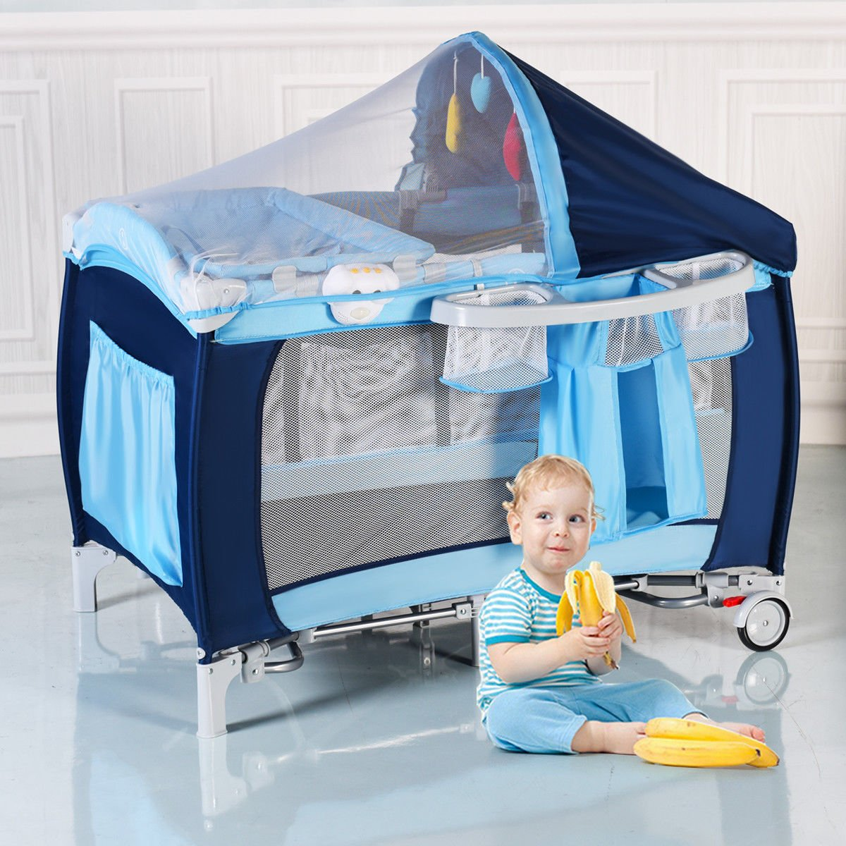 New Foldable Baby Crib Playpen Travel Infant Bassinet Bed Mosquito Net Music w Bag by Costway (Image #1)