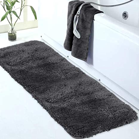 Amazon Com Walensee Large Bathroom Rug 24 X 60 Dark Grey Extra Soft And Absorbent Shaggy Bathroom Mat Machine Washable Microfiber Bath Mat For Bathroom Non Slip Bath Mat Luxury Bathroom Floor Mats