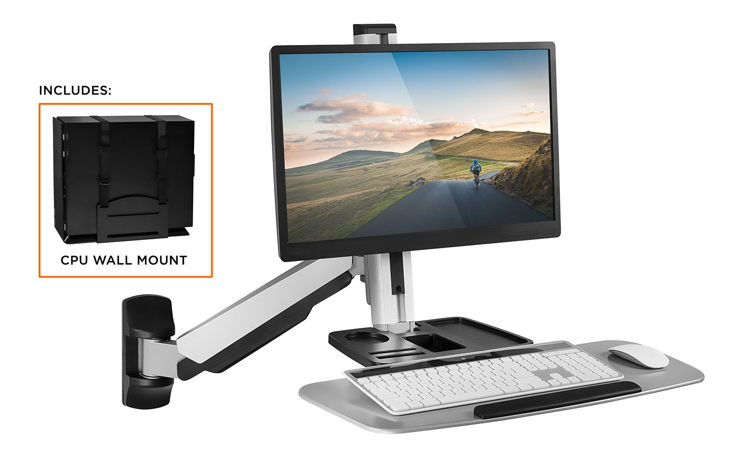 Mount-It! Sit Stand Wall Mount Workstation & Stand Up Computer Station with Articulating Monitor Mount, Keyboard Tray Arm and CPU Holder, Silver VESA 75 100 by Mount-It!