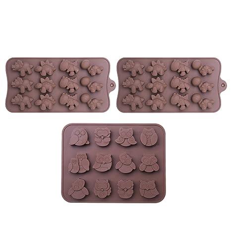 WARMWIND Moldes de silicona para chocolate, con forma de dinosaurio, búho, microondas,