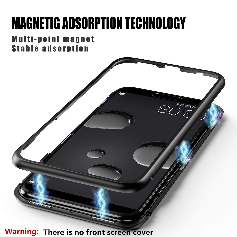 Coollee Huawei P10 Hü lle Magnet 9H Tempered Glass Backcover, Handyhü lle 360 Grad Magnetic Metall Frame Bumper Eingebaute Magnetische Adsorption Transparent Gehä rtetem Glas Back Cover (Klar Schwarz) CL-CiXi-HW-P10-Black