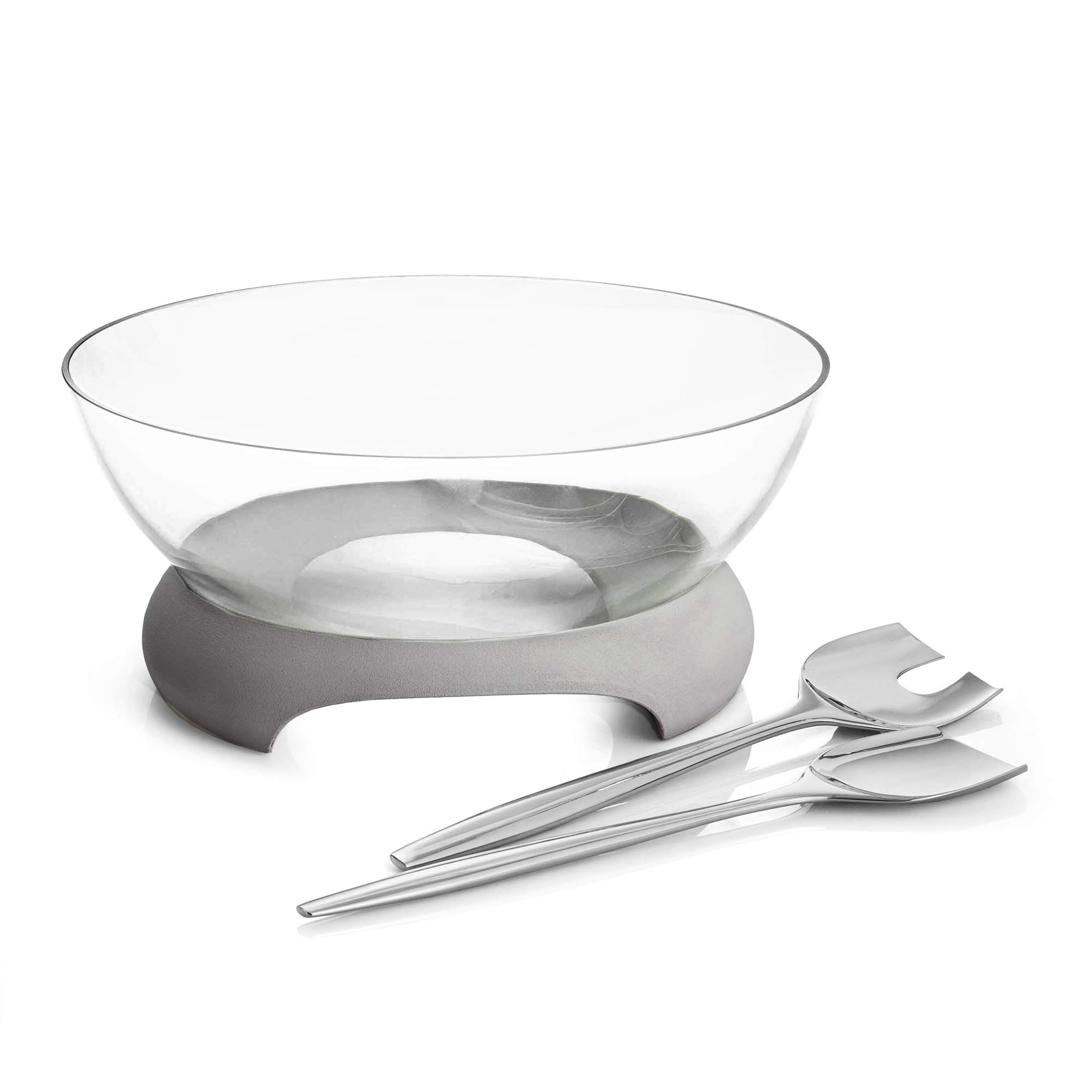 Nambe Forte Glass Salad Bowl with Servers