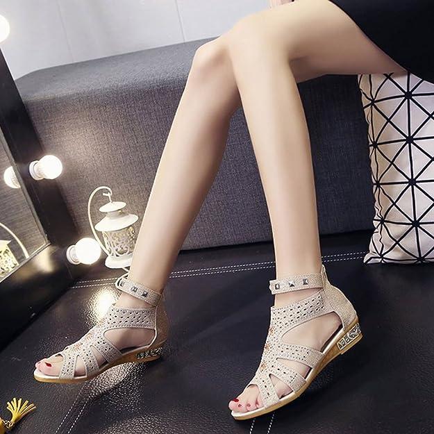 Anguang Donna Luccichio Sandali Zipper Elegante Cavo Piatto Sandali Antiscivolo Beige#2 36 hQPpcY