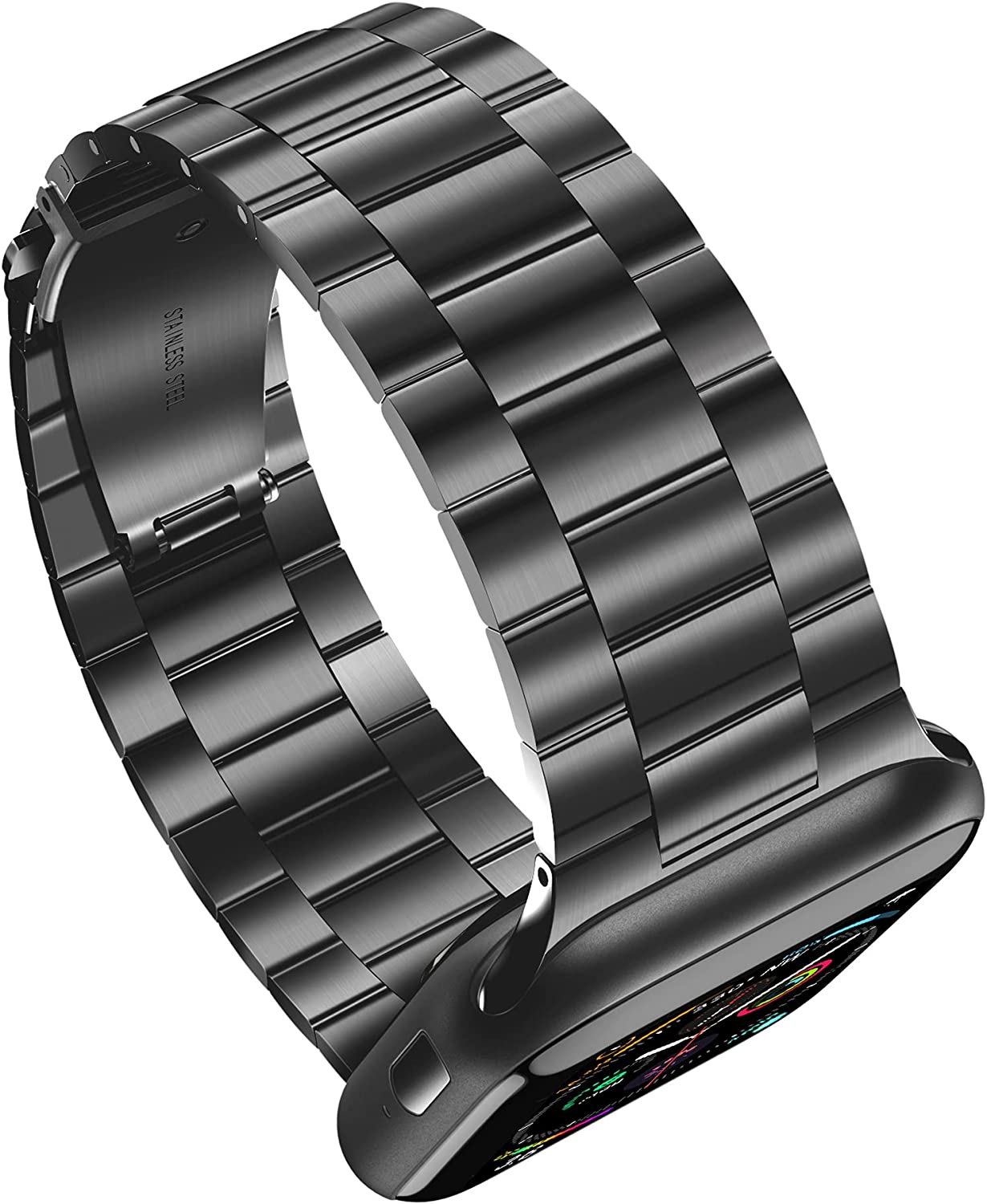 MOBOSI Thin Replacement Band Compatible with Apple Watch Band 38mm 40mm 42mm 44mm Stainless Steel Metal Wristband for Watch SE Series 6/5/4/3/2/1