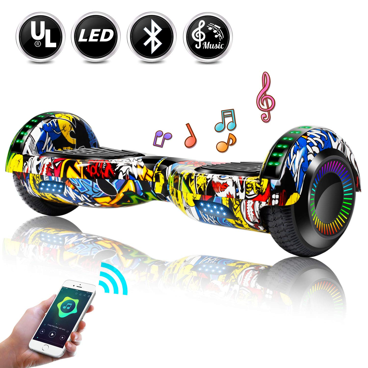 EPCTEK 6.5'' Hoverboard for Kids Adults - UL2272 Certified Self Balancing Hover Board w/Bluetooth Speakers, LED Light