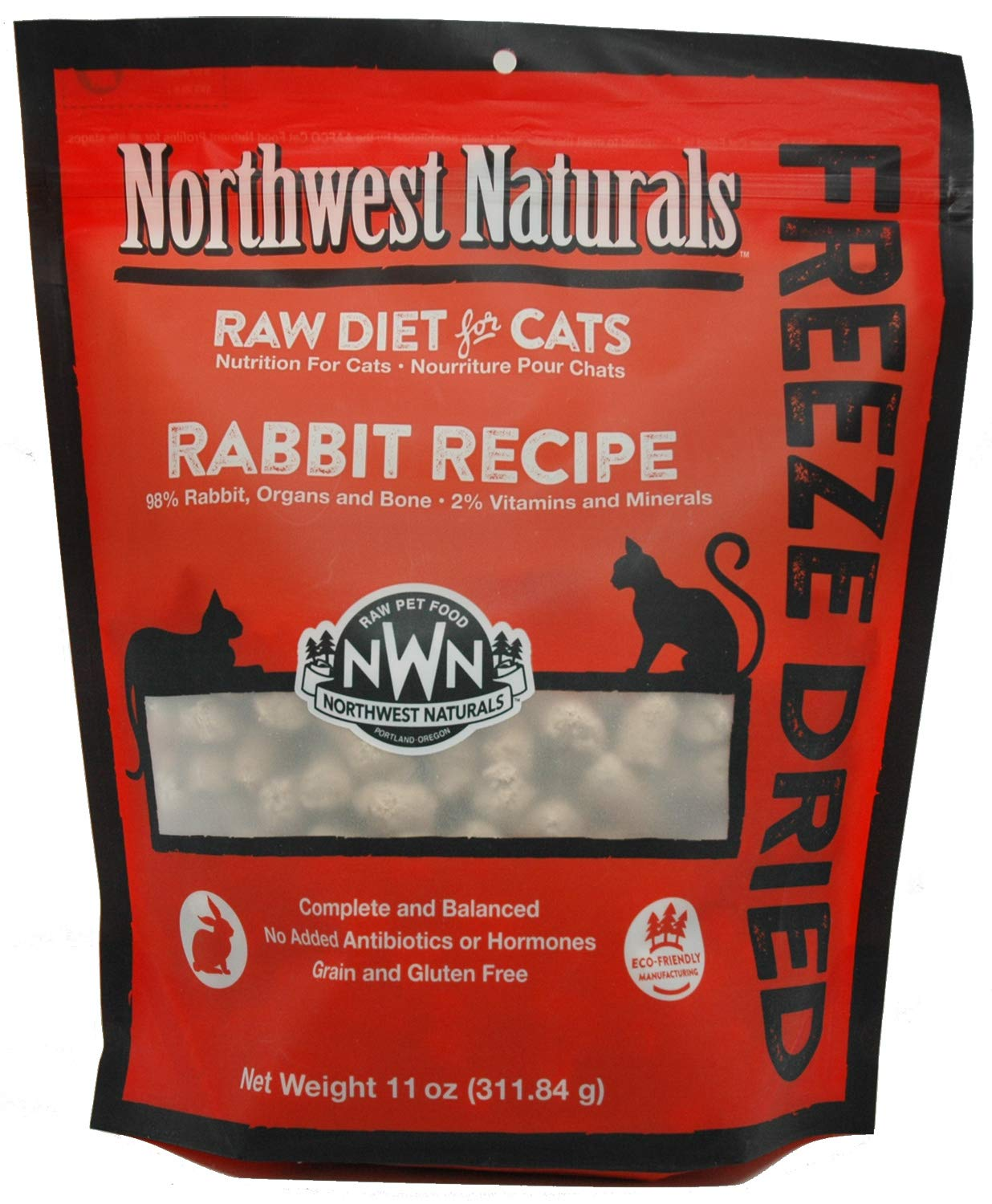 Northwest Naturals Freeze Dried Raw Cat Food Nibbles, 11 Ounces (Rabbit) by Northwest Naturals