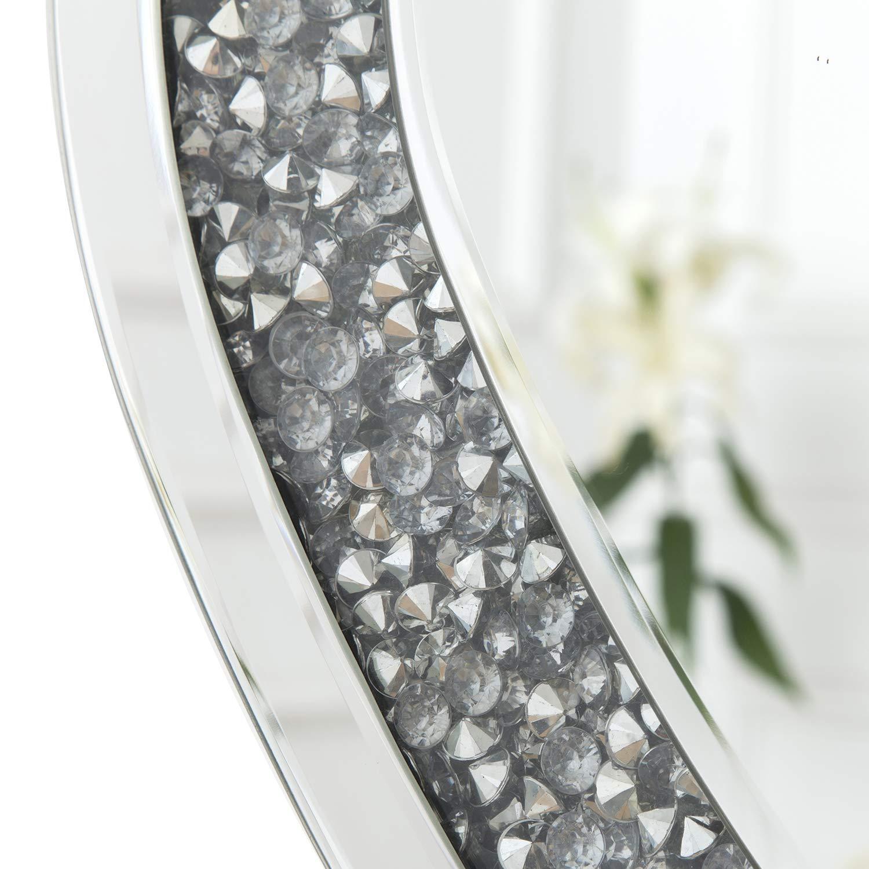 90 x 60 cm specchi da Soggiorno RICHTOP Grande Specchio da Parete con Triplo rettangolo con Diamanti Finti e Struttura Argentata