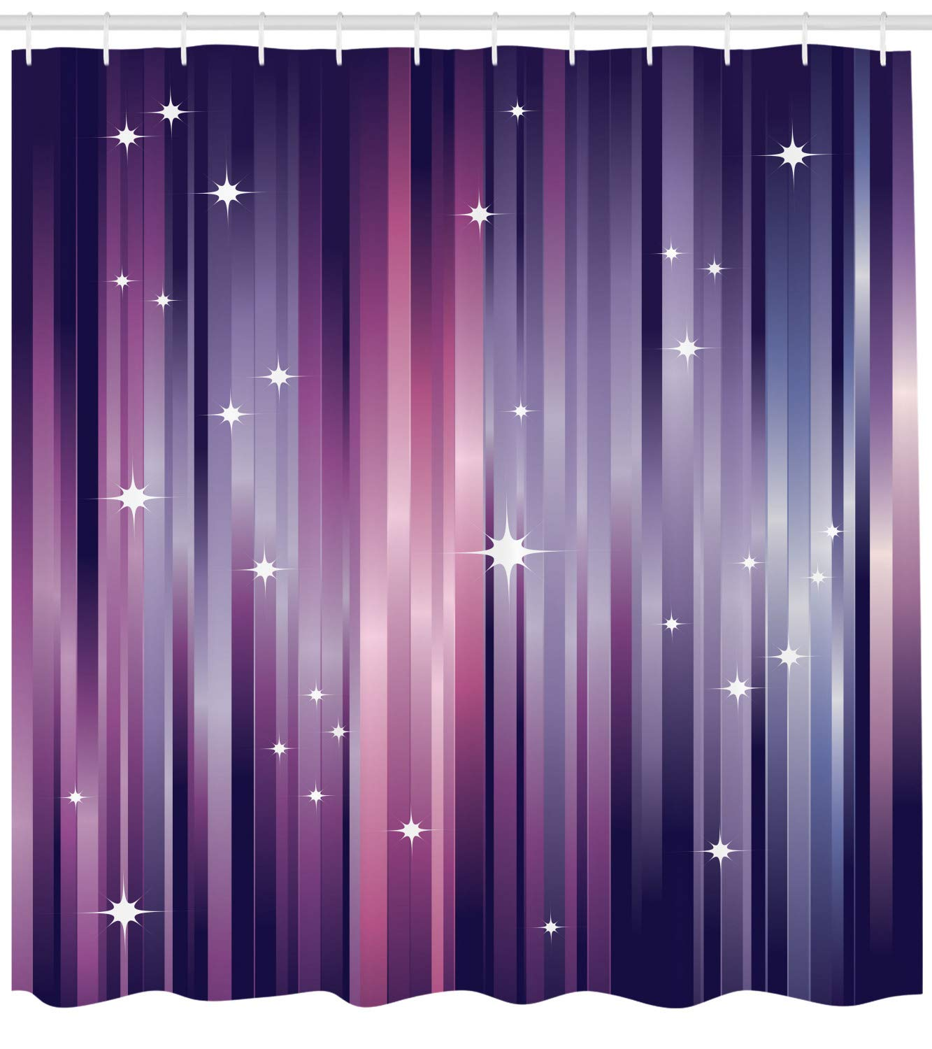 Ambesonne Eggplant Shower Curtain Abstract Colourful Beams Backdrop With White Stars Space Inspired Purple Lines Fabric Bathroom Decor Set Hooks